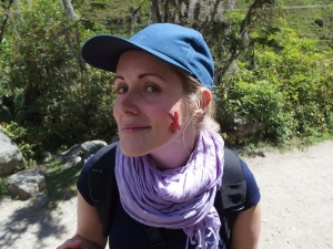 giving everything for the blog: on my cheeks is cochineal, or crushed beetles, or the original natural blusher. also: gross. and yes, I know the hat's horrific.